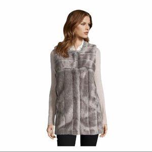Via Spiga grey faux fur hook and eye Vest XS(2)